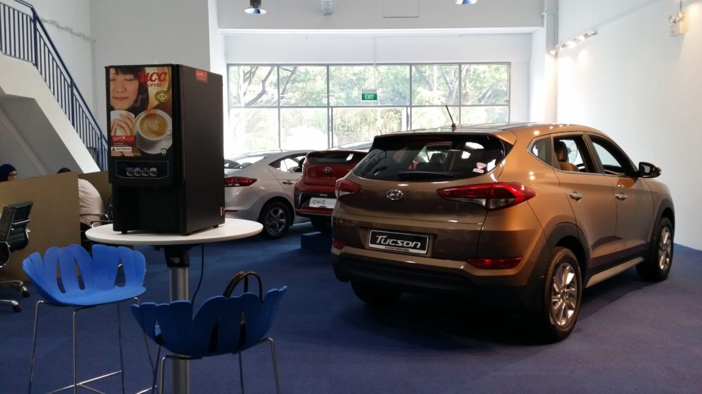 Coffee Machine Rented by Car Showroom